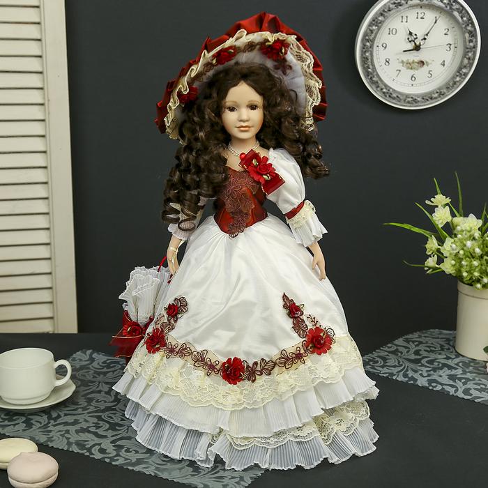 """Кукла коллекционная керамика """"Констанция в бело-бордовом платье с зонтом"""" 45 см"""