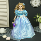 "Collectible ceramic doll ""Rosalie in a blue dress with a flower"" 45 cm"