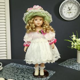 """Кукла коллекционная керамика """"Малышка Антонина в нарядном платье и в шляпке"""" 45 см"""