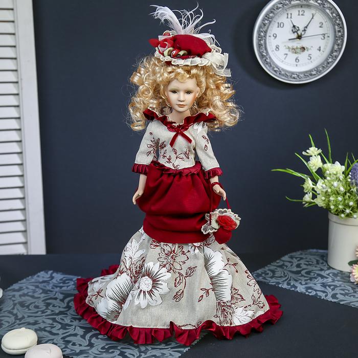 """Кукла-светильник коллекционная керамика """"Придворная дама Екатерина"""" 45 см"""