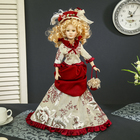 """Doll collectible ceramic """"lady-in-waiting Catherine in a dress with Burgundy trim"""" 45 cm"""