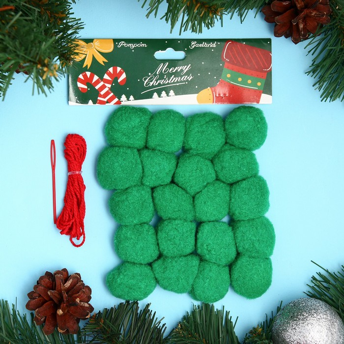 Набор для создания праздничной гирлянды «Новый год» игла пластик, цвет зелёный