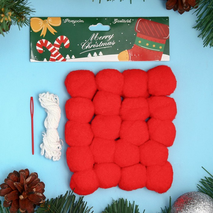 Набор для создания праздничной гирлянды «Новый год» игла пластик, цвет красный