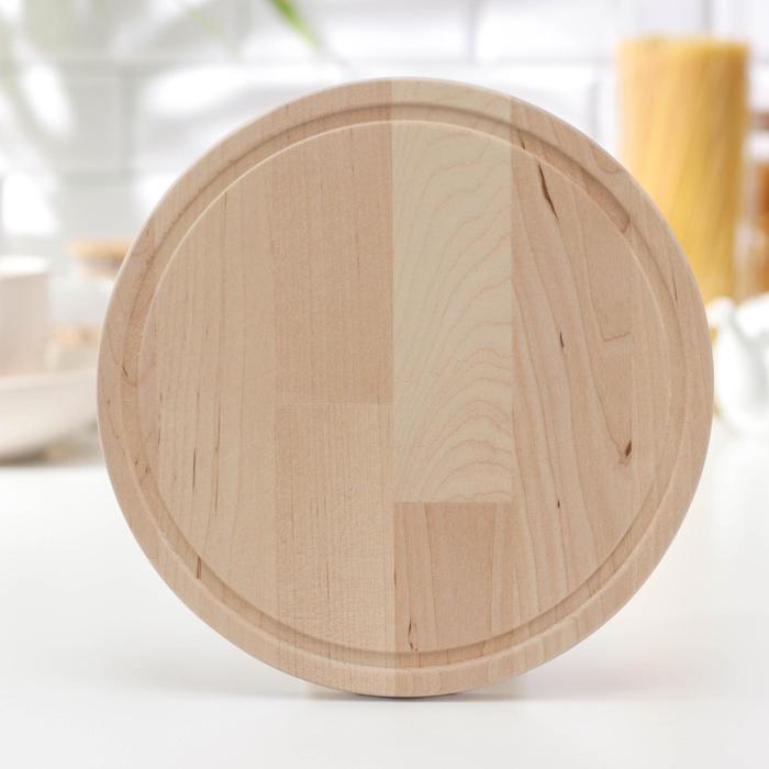 Доска разделочная круглая «Фортуна», массив берёзы, d=25 см - фото 308025603