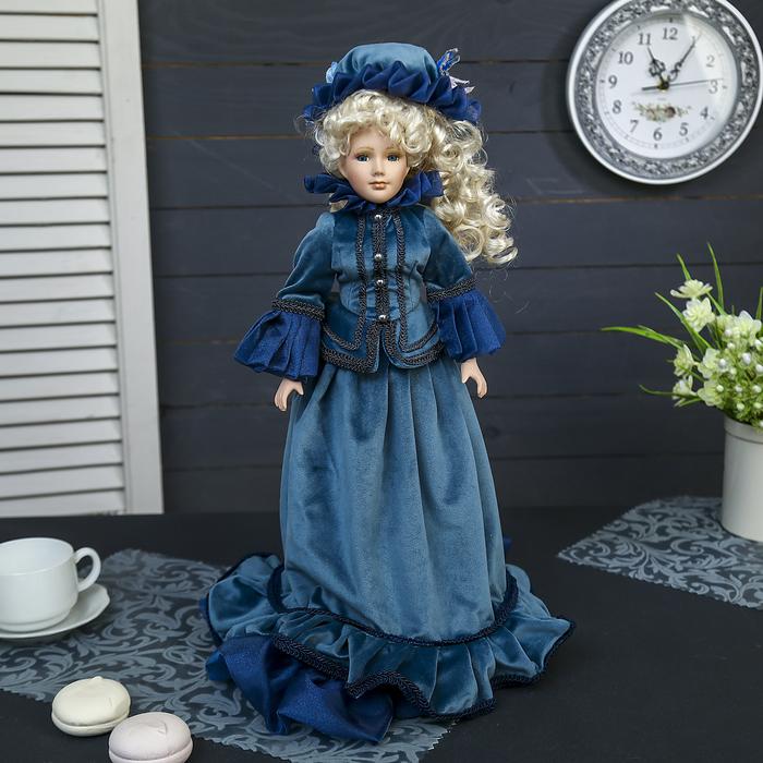 """Кукла коллекционная керамика """"Придворная дама Елизавета"""" в платье цвета морской волны 45 см"""