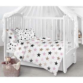 Детское постельное бельё «Звёзды», цвет розовый, 112х147см, 110х150см, 40х60см - 1шт
