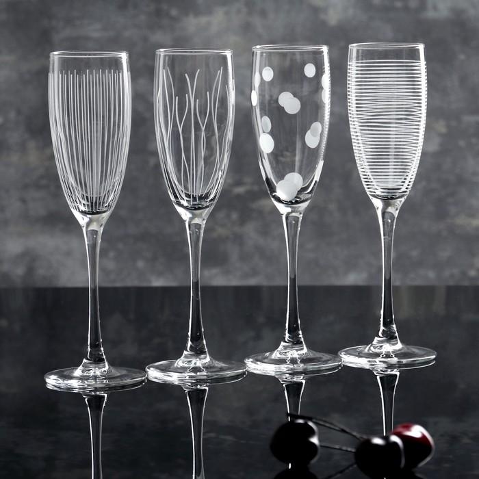 "Набор бокалов для шампанского 170 мл ""Лаунж клаб"", 4 шт"