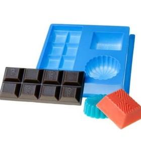 "Пластиковая форма для мыла МК ""Шоколад"" 4,5х10,5, 4х3,5, d=4,5 см МИКС"