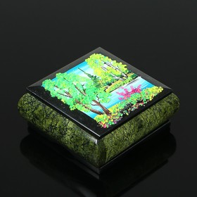 """Box with landscape """"Summer"""", stone chippings, serpentine"""