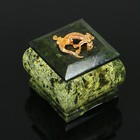 "Box ""Crowned lizard"", 5x5x5 cm, natural stone, serpentine"