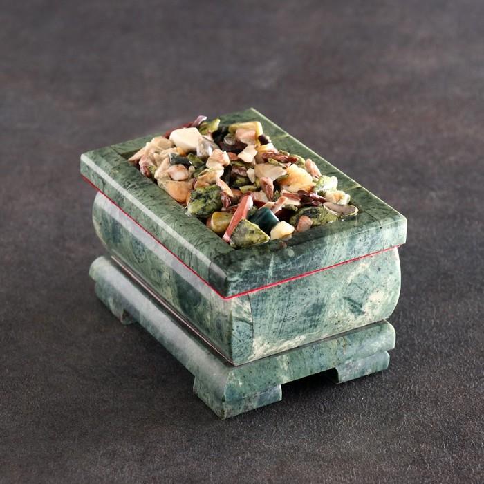 """Ларец """"Самоцветы"""" 11х8,5х7 см, натуральный камень, змеевик"""