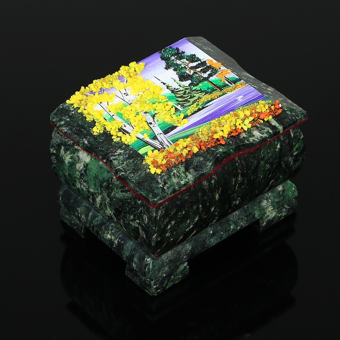 "Ларец ""Осень"" 10х8х7,5 см, каменная крошка, змеевик"