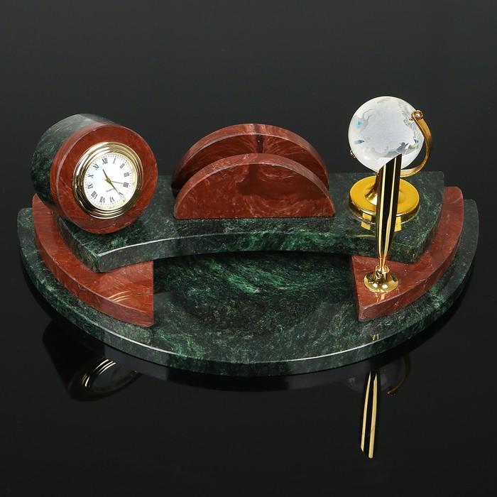 """Набор настольный """"Полукруг с часами"""", 25х13х10 см, змеевик, креноид"""