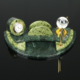 Набор настольный с часами, 25х13х10 см, змеевик