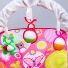 Шезлонг-качалка для новорождённых «Цветы», игровая дуга, съёмные игрушки МИКС - фото 924472
