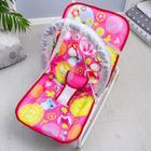 Шезлонг-качалка для новорождённых «Цветы», игровая дуга, съёмные игрушки МИКС - фото 924479