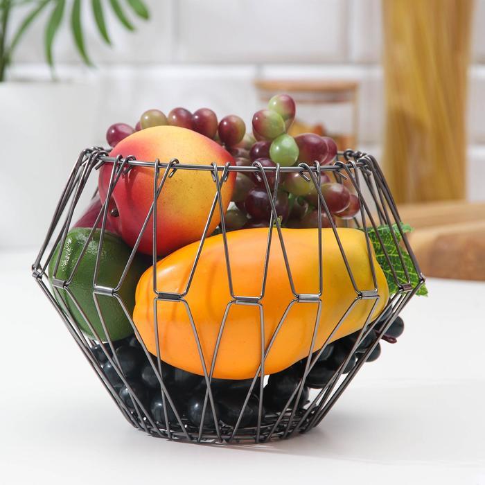 Folding fruit bowl, black