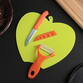 Набор 3 предмета: нож лезвие 8 см, овощечистка 5 см и доска, цвета МИКС