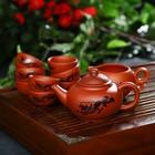 """Набор для чайной церемонии """"Дракон"""", 10 предметов: чайник 14х9,5х8,5 см, 8 чашек 5х3 см, чахай 150 мл"""