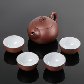 """Набор для чайной церемонии """"Красная глина"""", 5 предметов: чайник 14,5х10х8 см, 4 чашки 6х3,5 см"""