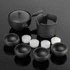 "Набор для чайной церемонии ""Шоколад"", 10 предметов: чайник, подставка, 4 чашки 6х3,5 см, 4 свечи"