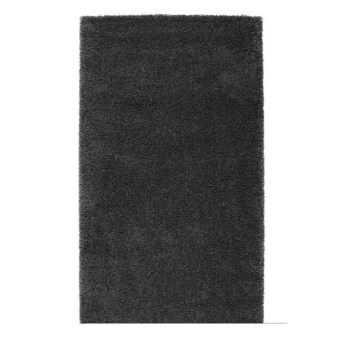 Ковёр ОДУМ, размер 80х150 см, длинный ворс, цвет тёмно-серый