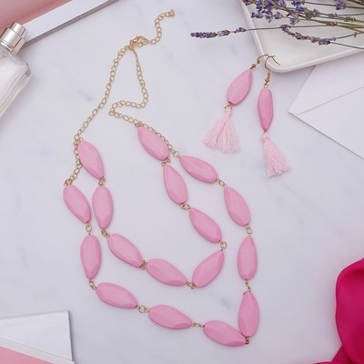 """Set of 2 pieces: earrings, necklaces """"Soft forms"""" brush, 2 tiers, color pink, 50 cm"""