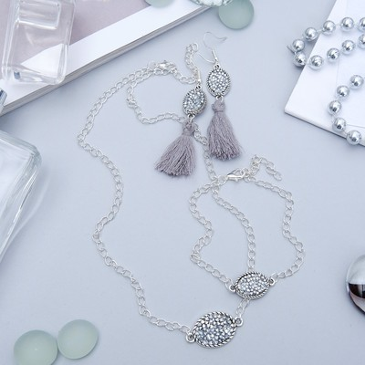 "Headsets 3 items: earrings, pendant, bracelet, ""Stephanie"", color silver"