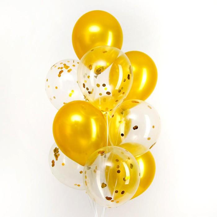 Букет из шаров «Праздничный», латекс, с конфетти, набор 10 шт. - фото 308468252