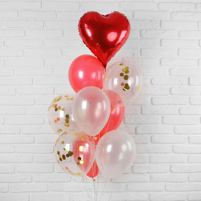 """Букет из шаров """"Любовь"""", фольга, латекс, красный, набор 10 шт."""