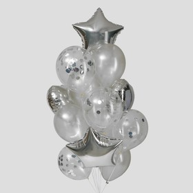 A bouquet of balloons, Silver foil, latex, set of 14 PCs.