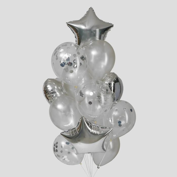 """Букет из шаров """"Серебро"""", фольга, латекс, набор 14 шт."""