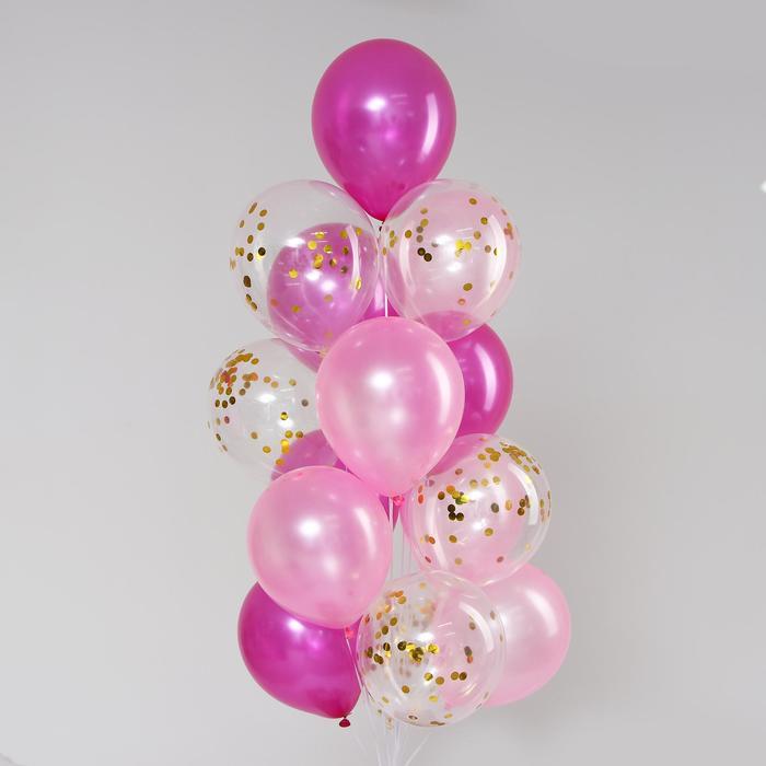 Букет из шаров «Фантазия», латекс, с конфетти, набор 15 шт. - фото 272832594