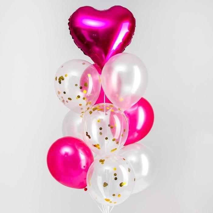"""Букет из шаров """"Любовь"""", фольга, латекс, розовый, набор 10 шт."""