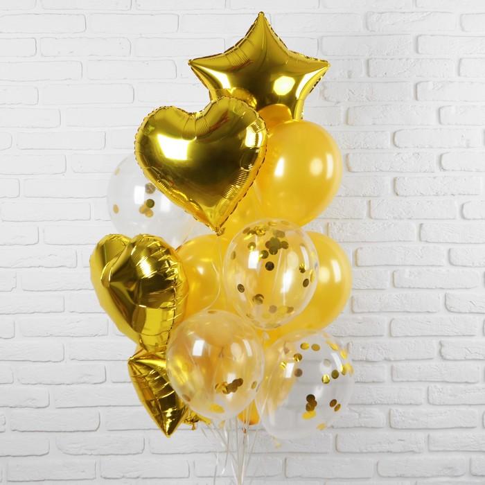 """Букет из шаров """"Романтика"""", фольга, латекс, желтый, набор из 14 шт."""