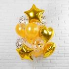 """Букет из шаров """"Романтика"""", фольга, латекс, золотой, набор из 14 шт. - фото 308473502"""
