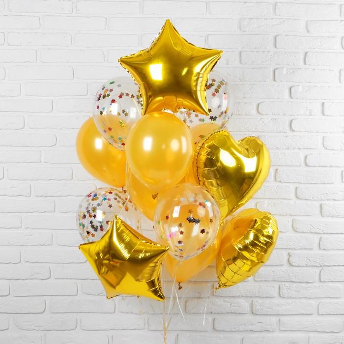 """Букет из шаров """"Романтика"""", фольга, латекс, золотой, набор из 14 шт."""