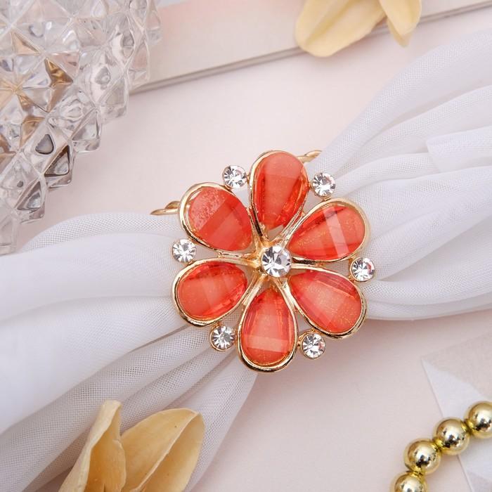"""Кольцо для платка """"Цветок маргаритка"""", цвет оранжевый в золоте - фото 329126400"""