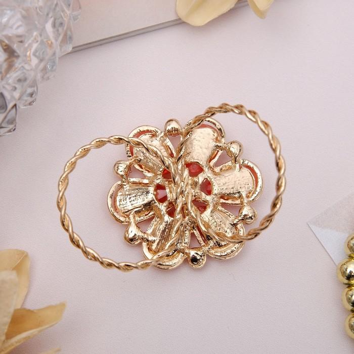 """Кольцо для платка """"Цветок маргаритка"""", цвет оранжевый в золоте - фото 329126401"""