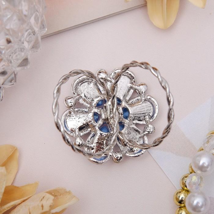 "Кольцо для платка ""Цветок маргаритка"", цвет синий в серебре - фото 436987418"