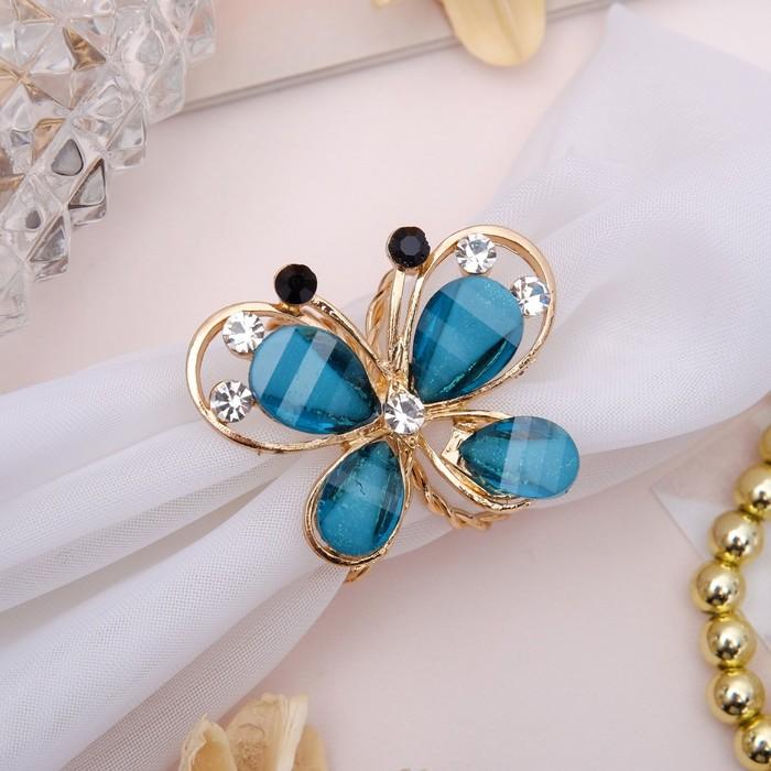 """Кольцо для платка """"Бабочка"""", цвет морской в золоте - фото 245327643"""