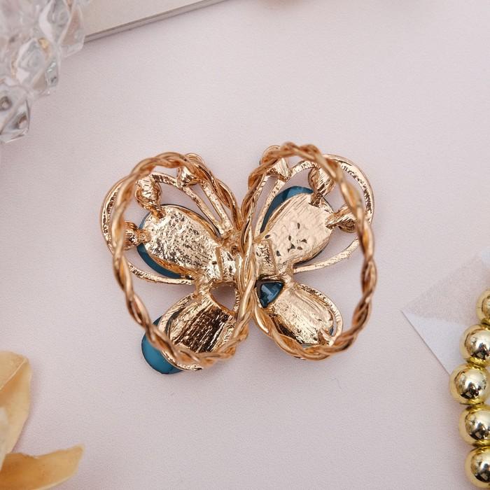 """Кольцо для платка """"Бабочка"""", цвет морской в золоте - фото 329126347"""
