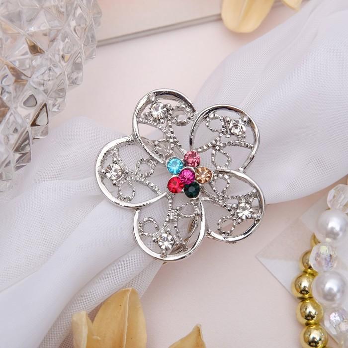 """Кольцо для платка """"Цветок"""" ареал, цветное в серебре"""