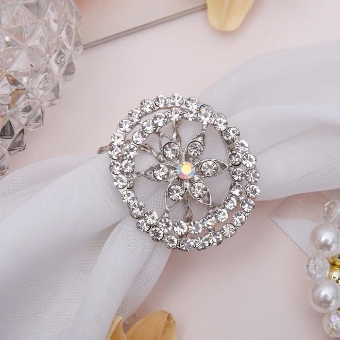 """Кольцо для платка """"Цветок"""" кувшинка, цвет белый в серебре"""