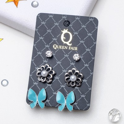 "Ear studs set 3 pairs of ""Butterfly and flower"", the color blue and white in silver"