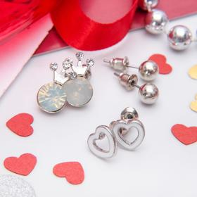 "Ear studs set 3 pairs ""Crown and heart"", the color white in silver"