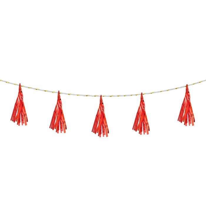 Лента тассел, набор 5 шт., цвет красный - фото 458051