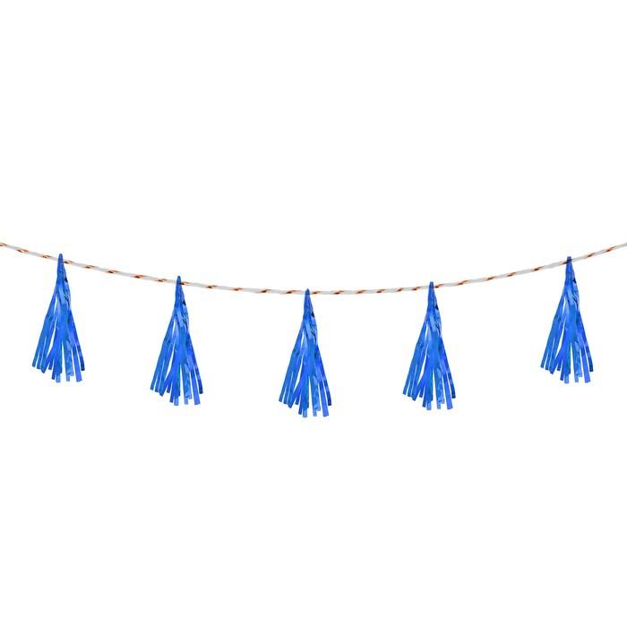 Лента тассел, набор 5 шт., цвет синий - фото 458039
