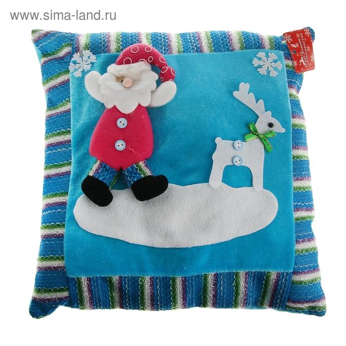 """Мягкая подушка Новый Год """"Дед Мороз"""" с оленем"""