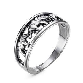 Кольцо 'Слоны', посеребрение с оксидированием, 17,5 размер Ош